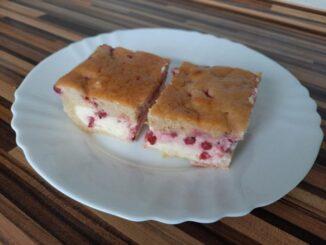 Rybízový koláč v řezu